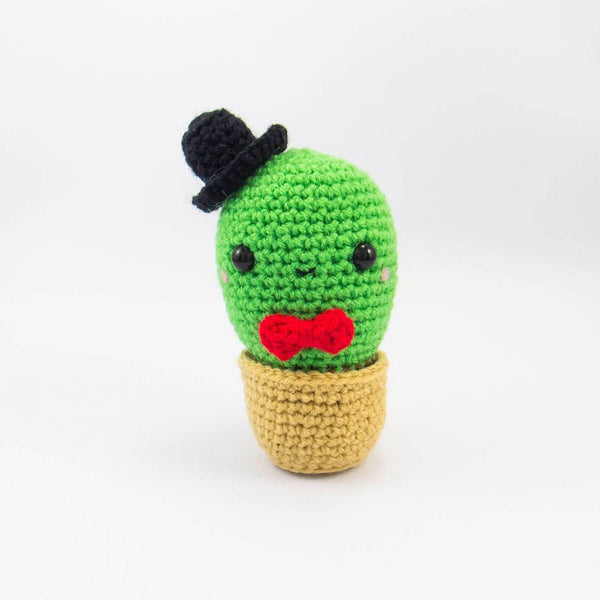 Amigurumi Cactus Plush with Red Bow tie