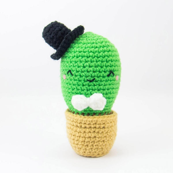 Stuffed Cactus Amigurumi with White Bow Tie