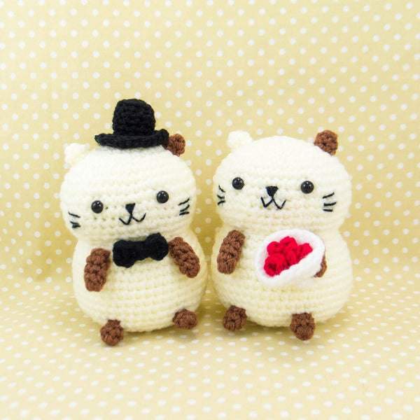 stuffed cat couple wedding dolls