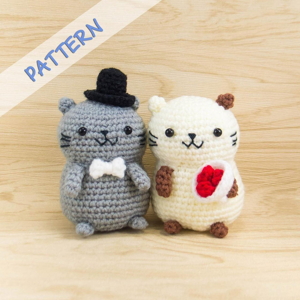 Cat couple amigurumi crochet pattern snacksies handicraft crochet cat couple amigurumi pattern for wedding decor bankloansurffo Images