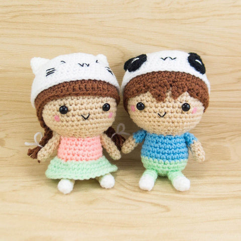 Girl with Cat Hat and Boy with Panda Hat Amigurumi