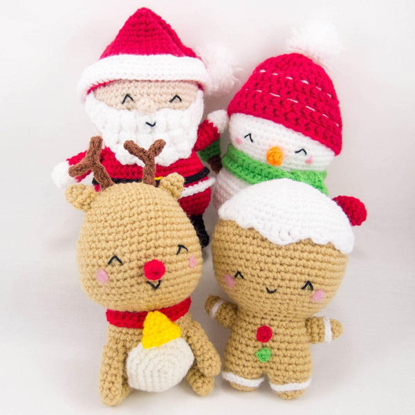 Christmas Crochet Patterns - Santa, Snowman, Reindeer, Gingerbread