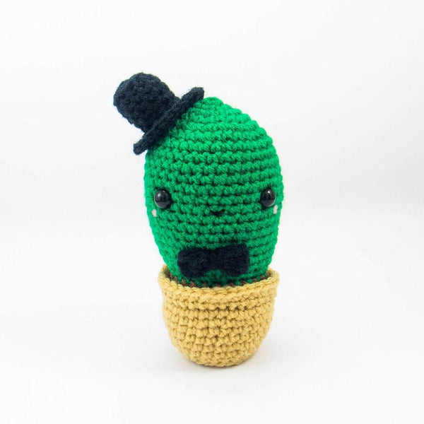 Crochet Cactus Plush with Dark Green Body