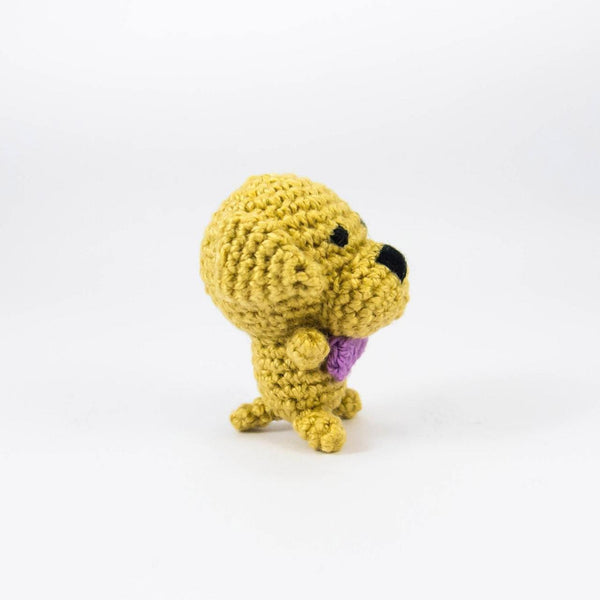 Crochet Dog Miniature for Doll House Side View