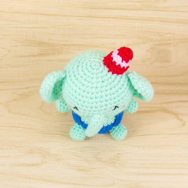 crochet elephant plush top view