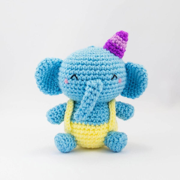 stuffed elephant toy in blue
