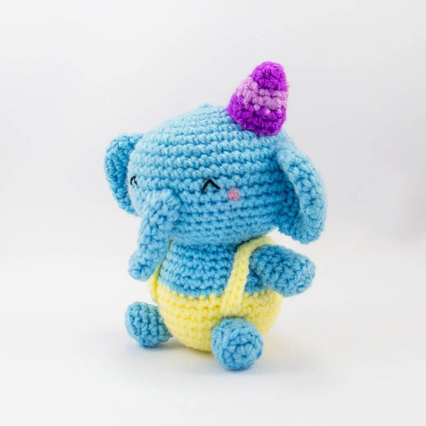 plush elephant crochet in blue side view