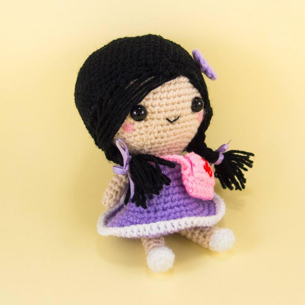 Crochet Doll with Bag Side View