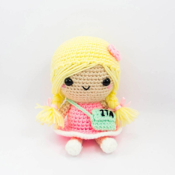 Crochet Doll with Blond Hair