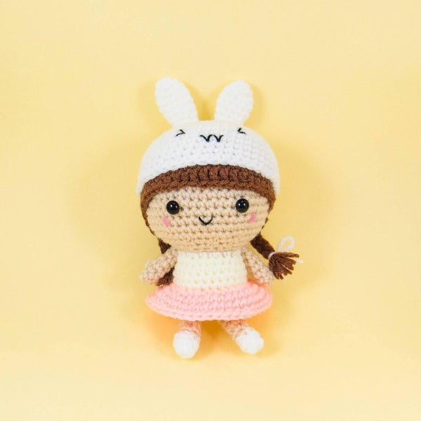 Crochet Doll with Bunny Hat