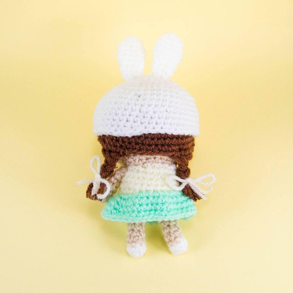 Crochet Doll Back View Showing Plaits