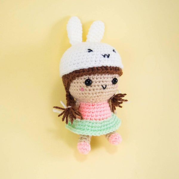 Crochet Doll with Bunny Hat and Pink Top
