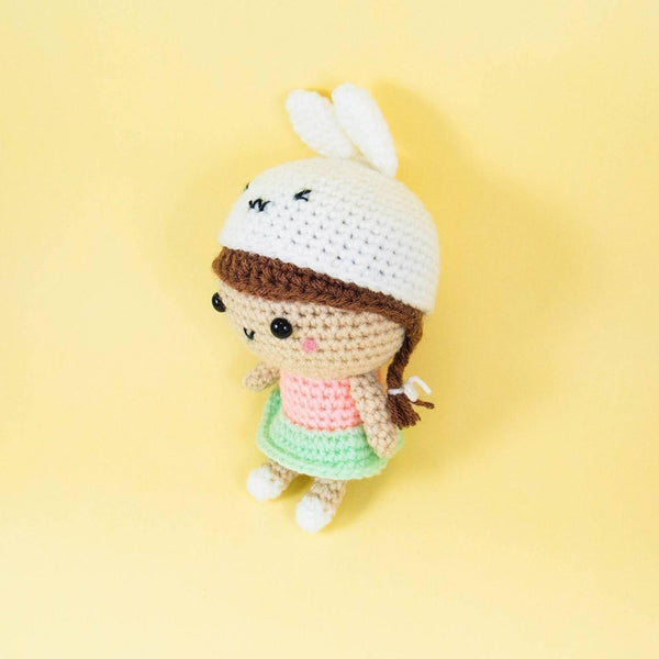 Handmade Doll with Bunny Hat