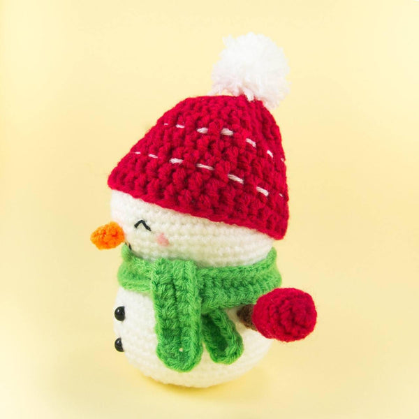 Crochet Snowman Plush for Christmas Side View