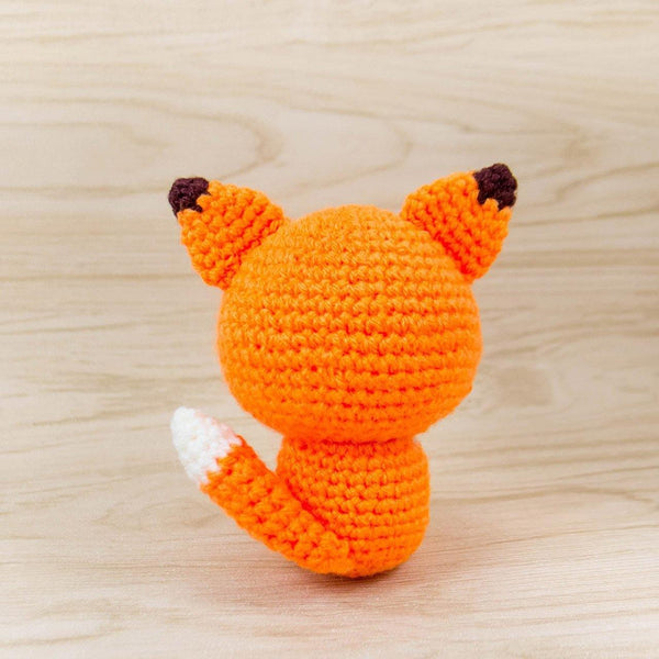 Crochet Fox Plush For Room Decor Back View