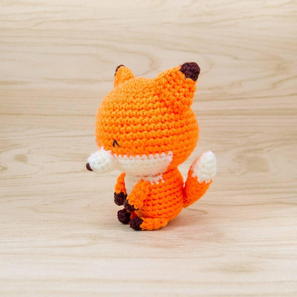 Amigurumi Fox Stuffed Animal For Nursery Decor Side View