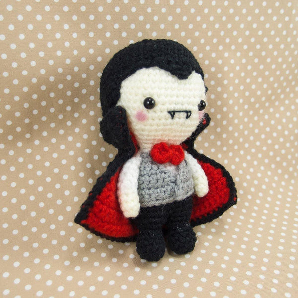 Crochet Vampire Plush Pattern For Halloween Side View
