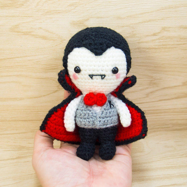 Crochet vampire plush for halloween decor