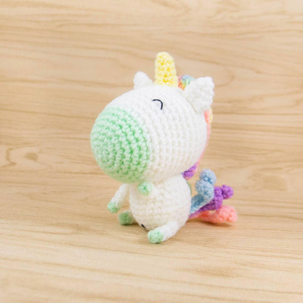 crochet unicorn plush in green
