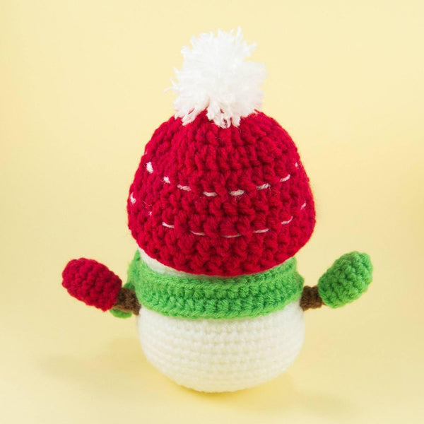 Crochet Snowman Plush Pattern for Christmas Side View