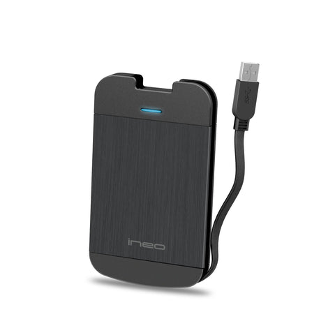 SATA III to USB 3.0 External Drive Enclosure with Integrated USB Cable for 2.5-inch SSD and HDD