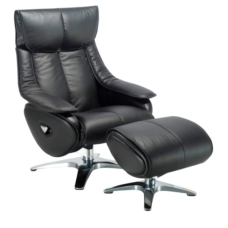 Alpha Real Leather Swivel Recliner
