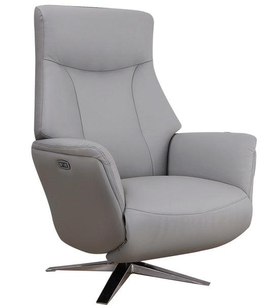 Houston Powered Real Leather Swivel Recliner
