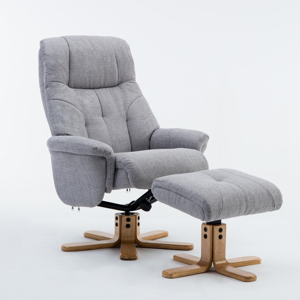 Dubai Warm Fabric Swivel Recliner with Stool