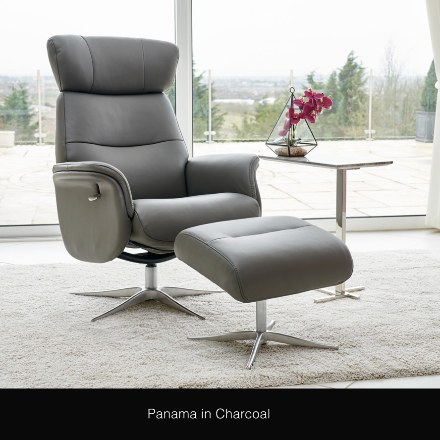 Panama Real Leather Swivel Recliner