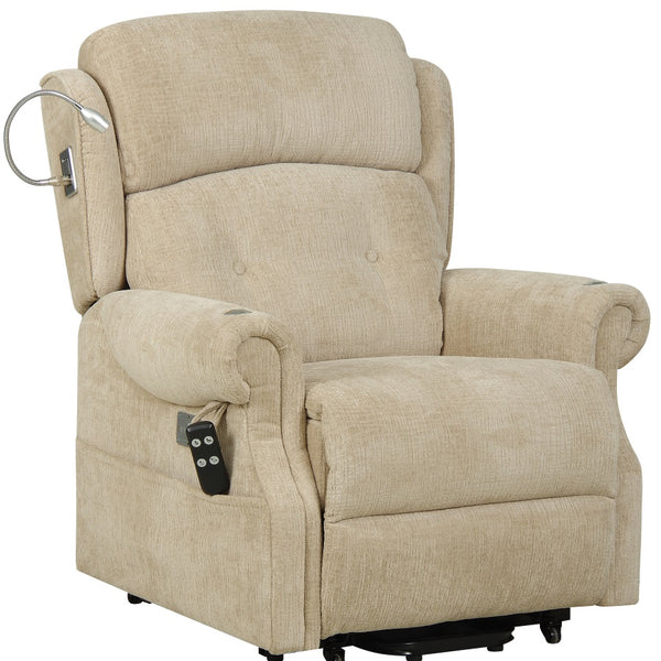 Ultima Fabric Dual Electric Riser Recliner Chair with Light, Tray and USB