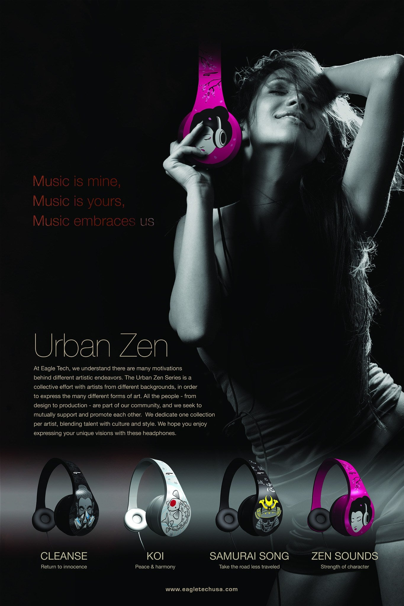 Headphones - Urban Zen Fashion Headphones Samurai Black