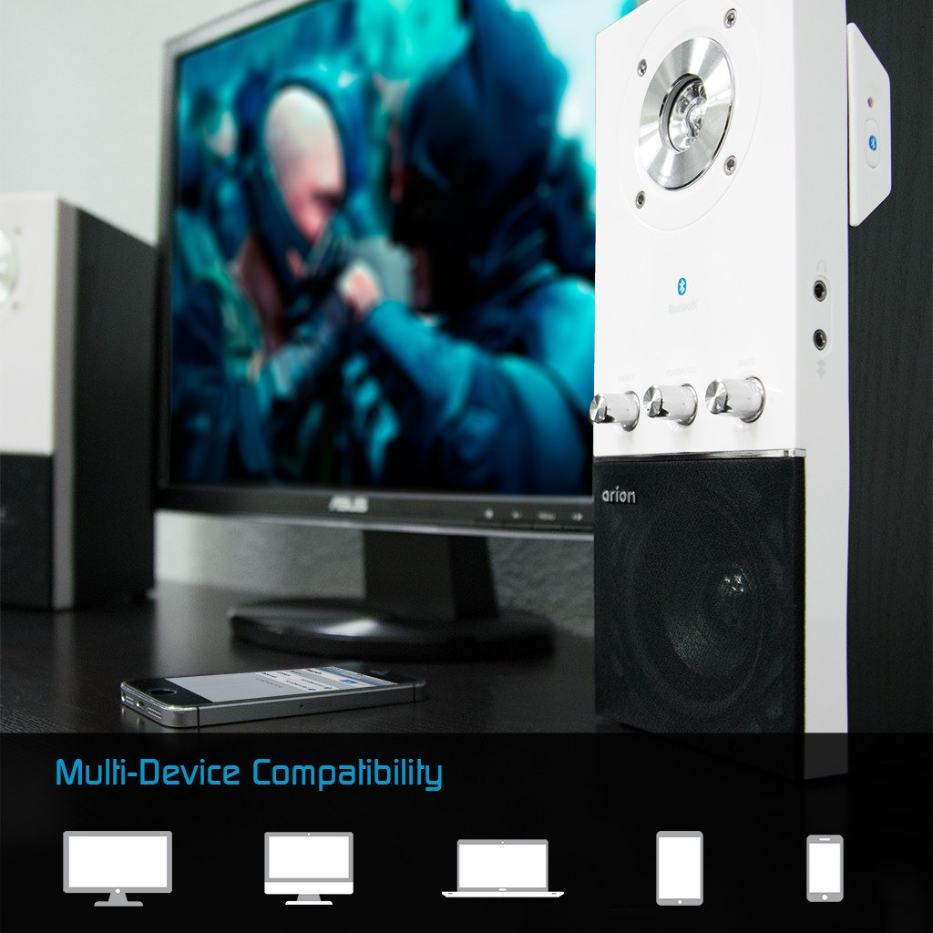 Speakers - Arion Legacy AR204B Wallmountable Computer PC Bluetooth Speakers