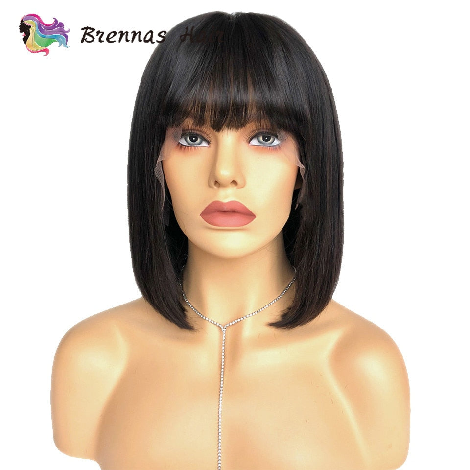 13X6 Short Straight Wig with bangs Brazililian human Remy hair 13X4 pre cut bob lace front human hair wigs 4-16inch for women - sexyheksie