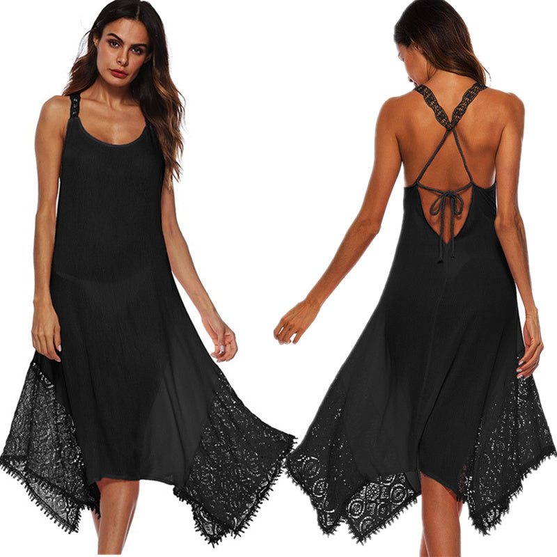 Summer Beach Dress Plus Size 5XL Backless Boho Dress Elegant Club Party  Dress Beach Cover-up