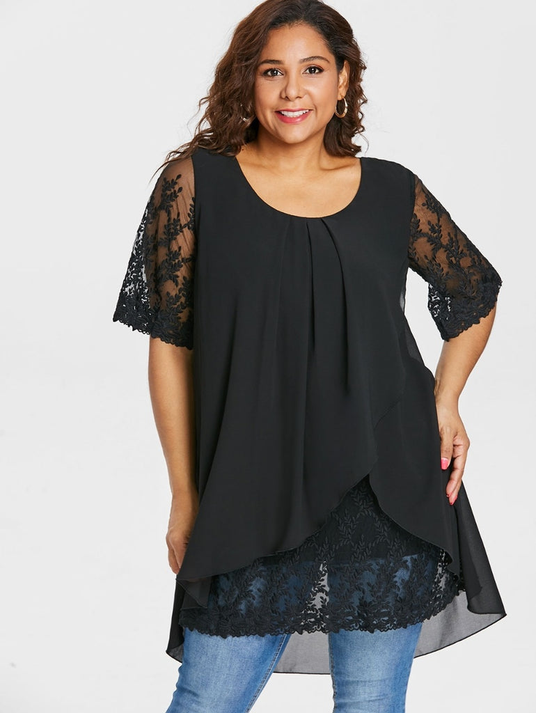 Plus Size Lace Trim Half Sleeve Blouse Black Scoop Neck Overlap High Low Hem Blouse Chiffon Top - sexyheksie