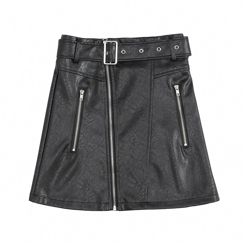 Fashion Skirt Faux PU Leather High Waist Skirt - sexyheksie