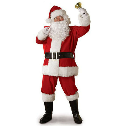 Christmas Cosplay Santa Claus Costume Cothes 5PCS Fancy Dress Adult Suits Cosplay Outfits S-3XL Hot