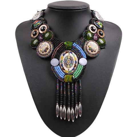 New Design Fashion Vintage Tibetan Button Bib Bead Tassel Pendant Choker Big Chunky Statement Necklace Collar For Women
