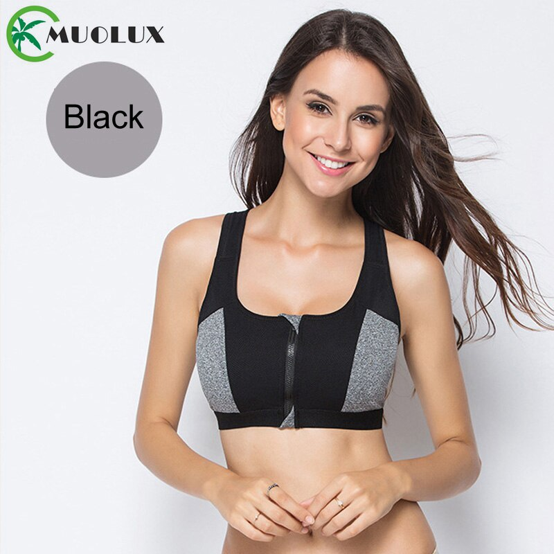 Women's Zip  Up Sports Bra Shockproof Underwear Running Vest Gym Workout Sport Top - sexyheksie