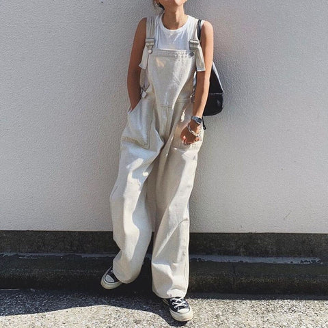 Fall Japanese Pure White Jumpsuit Overalls High Waist Oversize Loose Wide Legs Trousers Jumpsuit - SexyHeksieLingerie