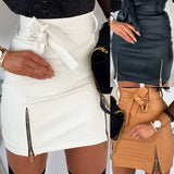 Sexy High waist PU leather Autumn Winter White Black skirt  Pencil Mini skirt - SexyHeksieLingerie