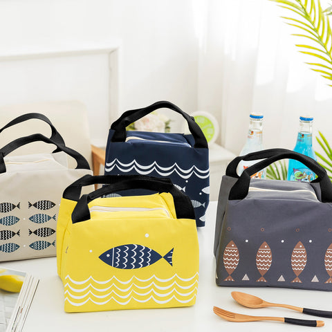 Carry Tote Picnic Case Storage Bag Cartoon Fish Oxford Lunch Bag Portable Insulated Thermal Cooler Lunch Box - SexyHeksieLingerie