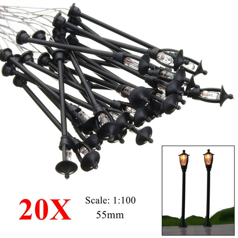 20pcs Model Garden Lamps HO Scale 1:100 Black Model Layout Single Head Garden Lights Lamppost Landscape Light Model - SexyHeksieLingerie