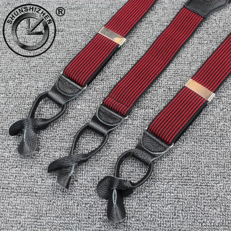 3.5cm  Men's Suspenders  Braces High Quality Real Cowhide Leather Button - sexyheksie