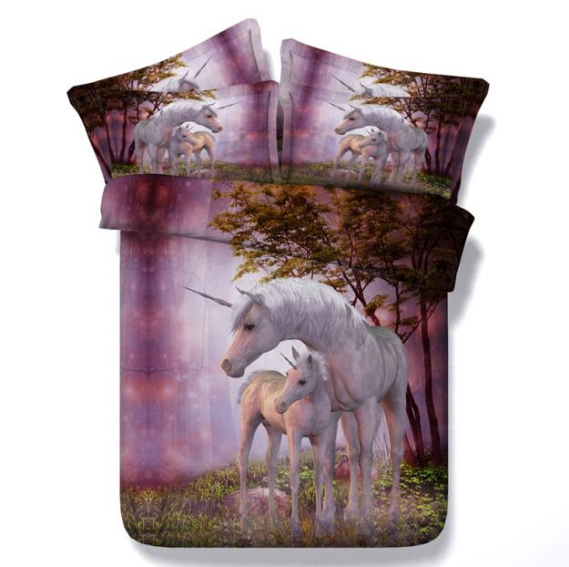 3D Print Unicorn Bedding Set Duvet cover set adult / child duvet cover+pillowcase fashion bed linen - SexyHeksieLingerie