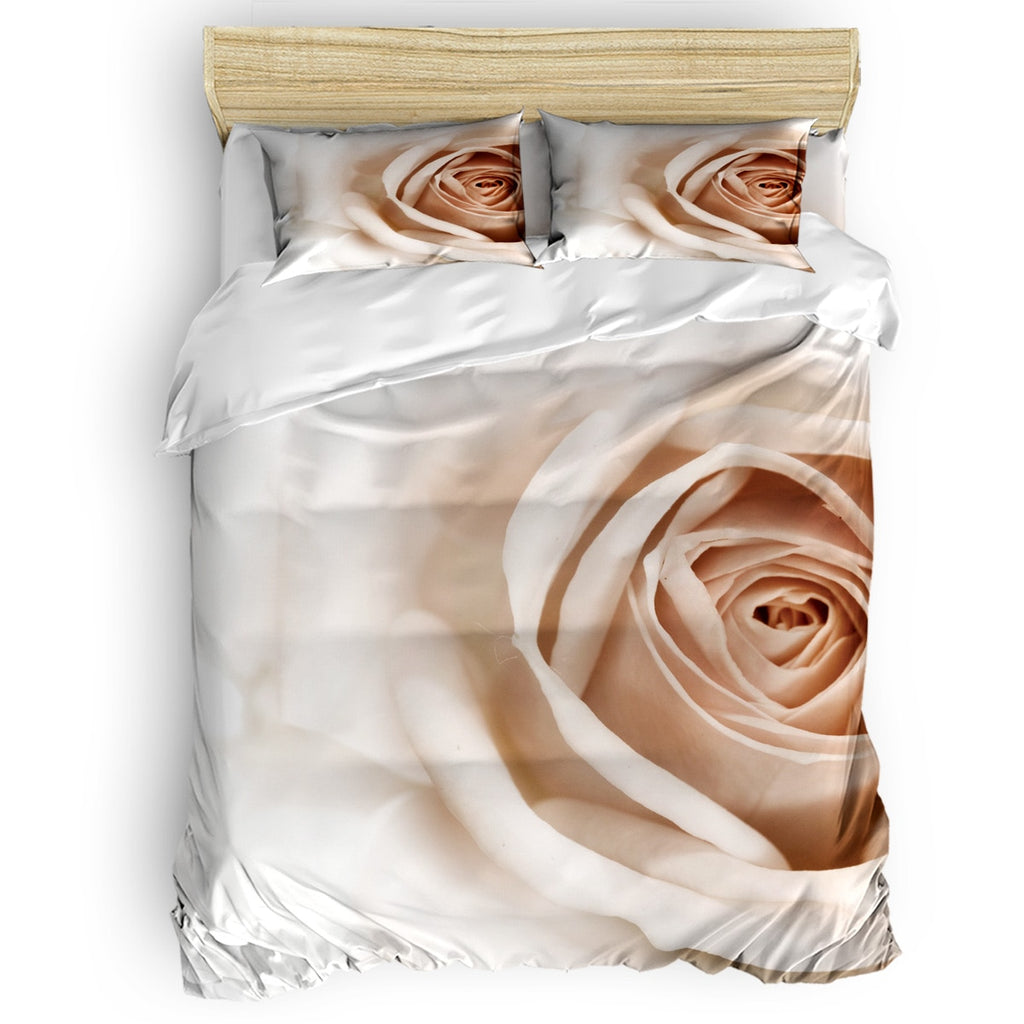 3D White Rose Quilted Duvet Set April Fool's Day Duvet Cover Sets Forefather's Day Comforter Sets Easter Day Childrens Bedroom - SexyHeksieLingerie
