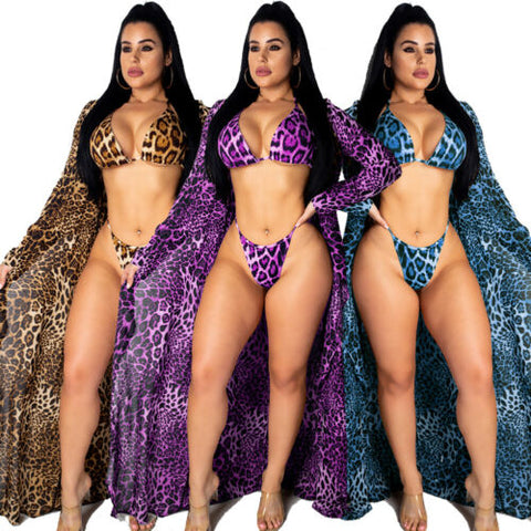 3PCS Summer Swimwear Women's Leopard Print Bikini Set Swimwear+Cover Up - sexyheksie