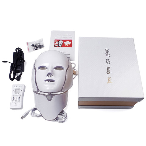 7 Colors Led Facial Mask Led Korean Photon Therapy Face Mask Machine Electric Light Therapy Acne Mask Neck Beauty Led Mask - SexyHeksieLingerie