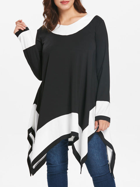 Plus Size Contrast Long Sleeve Handkerchief T-Shirt Female Autumn T-Shirt Top - sexyheksie