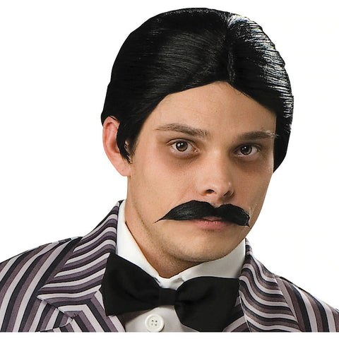 Addams Family Gomez Wigs  For Broadway Shows Halloween Cosplay Costume Adult Accessory Vintage Handlebar Moustache Kit For Men